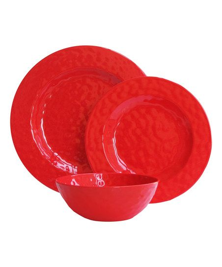 Red Dinnerware Set   Set Of 12   Zulily