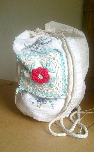 Vintage backpack Upcycled Decorated napkins by recyclingroom,