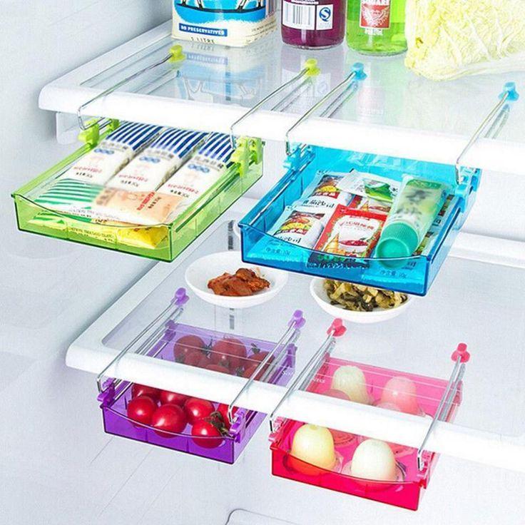 4€ 2016 Creativa Capa de Rack de Almacenamiento Frigorífico Partición Refrigerador Soporte De Plástico extraíble Cajón Organizador 15*11.8*2.5 cm