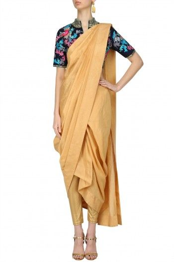 Breathe By Aakanksha And Nupur Sunset Orange Draped Saree and Blue Blouse #happyshopping #shopnow #ppus