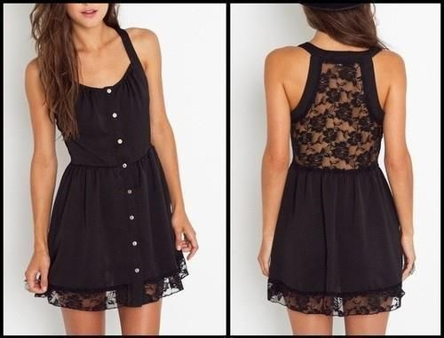 Little black dress.Black Lace, Summer Dresses, Fashion, Laceback, Style, Clothing, Little Black Dresses, Lace Back, Lace Dresses