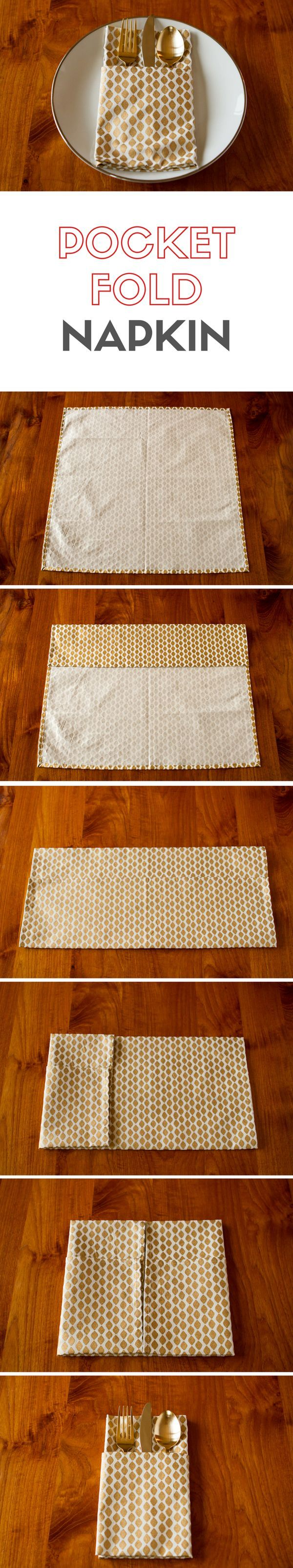 Pocket Fold Napkin -- dress up your table with this easy pocket fold napkin tutorial! Tuck your silverware or an elegant little place card into the pocket...