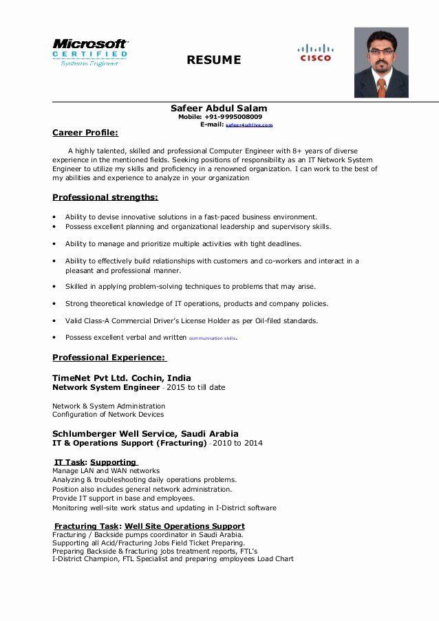 System Engineering Resume Examples Elegant Network System Engineer Resume In 2020 Engineering Resume Resume Good Resume Examples