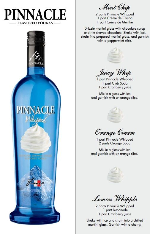 I love this vodka... there are so many different drink recipes you can do.... one low calorie drink I've found is a variation of the creamsicle. If you make a single drink mix of Crystal Light's Orange Sunrise with the Wipped Pinnacle vokda (mix to taste)... it taste just like a creamsicle... and it's low cal :) check out the pinnacle website at pinnaclevodka.com for more recipes. It's my favorite summer drink