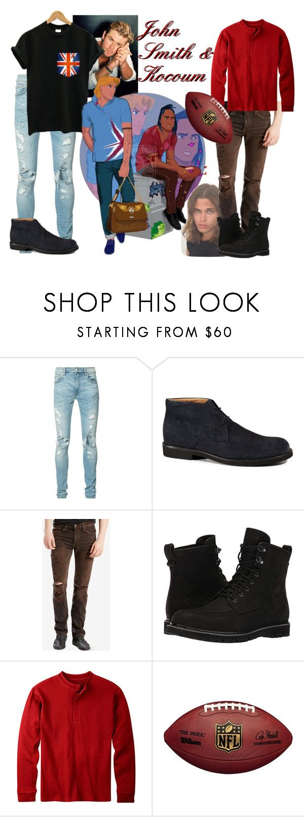 """Disney Gone College - JOHN SMITH & KOCOUM"" by blackest-raven ❤ liked on Polyvore featuring AMIRI, Disney, Tod's, Levi's, Timberland, Mountain Khakis, men's fashion and menswear"