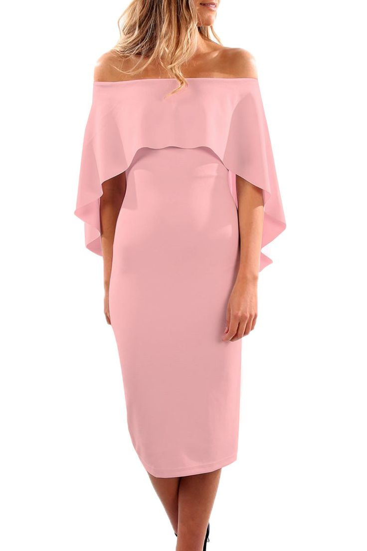 Luxurious Off Shoulder Batwing Cape Pink Formal Midi Dress https://www.modeshe.com