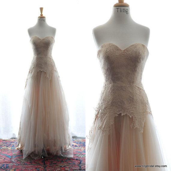 Custom Wedding Gown- Fall Dara-Romantic Soft tulle and floral lace wedding gown in gorgeous fall color-champagne-Made to order