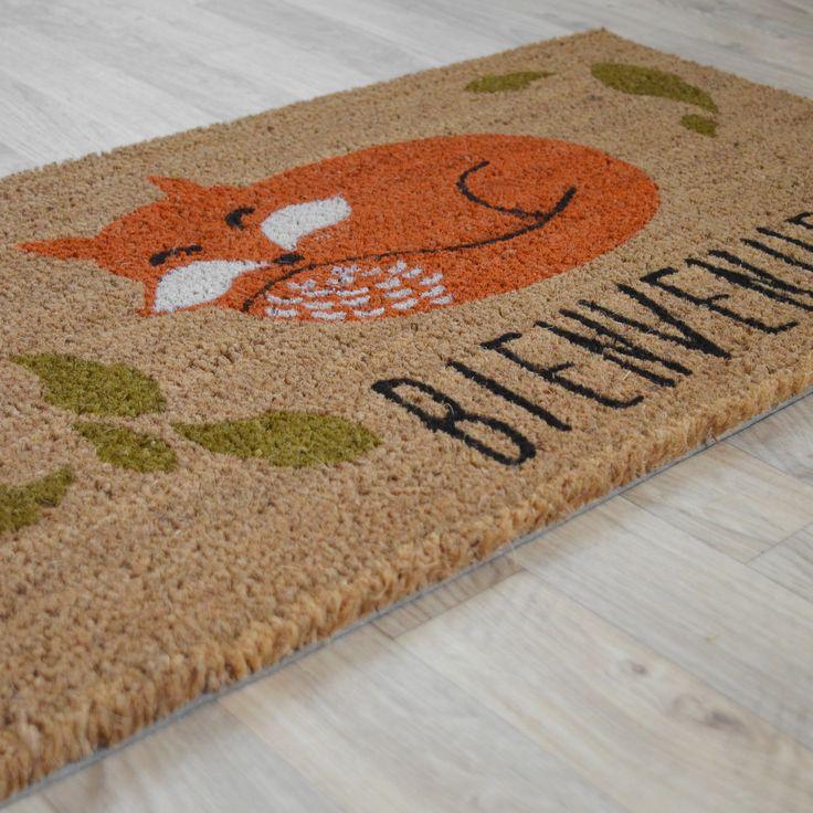 Paillasson Renard, en fibre naturelle de coco. Format rectangulaire 45 x 75 cm. En exclusivité chez decoweb.com