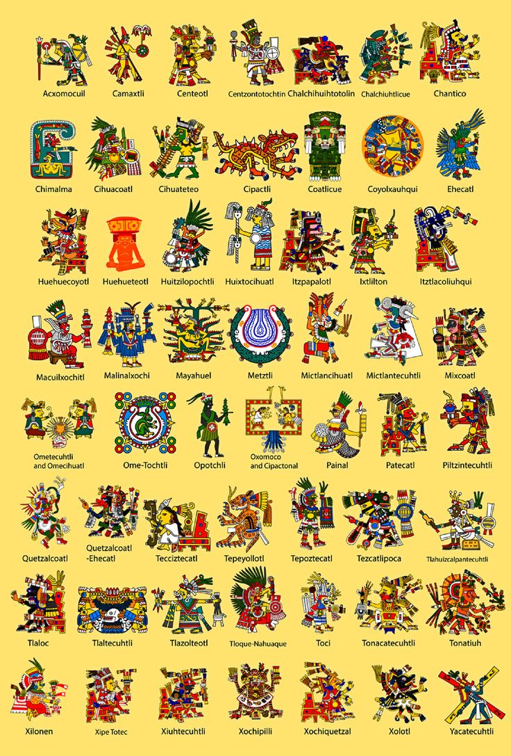 Aztec gods presented in their traditional art work (or at least an artistic interpretation based on the origin source). This shall serve as a basis to develop the boss of the game from, as well as looking into other similar cultures for inspiration.