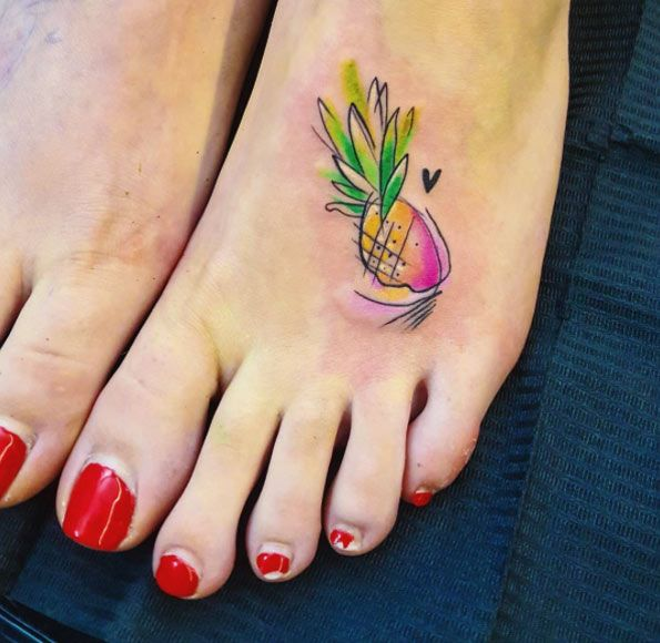Watercolor pineapple tattoo on foot by Simona Blanar