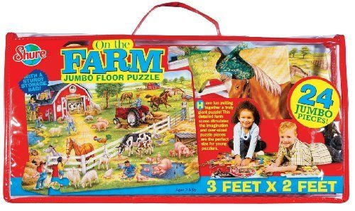T.S. Shure On The Farm Floor Puzzle by Shure Products. $16.99. Oversized, durable, glossy pieces printed with colorful, hand-painted artwork. 6' x 2' jumbo floor puzzle. Explore the farm with this jumbo floor puzzle. Stores easily in clear, vinyl carrying case with handle. Ages 3 and up. From the Manufacturer                Have fun learning about a farn with this 3' x 2' jumbo floor puzzle. Oversized, durable, glossy pieces printed with colorful, hand-painted...