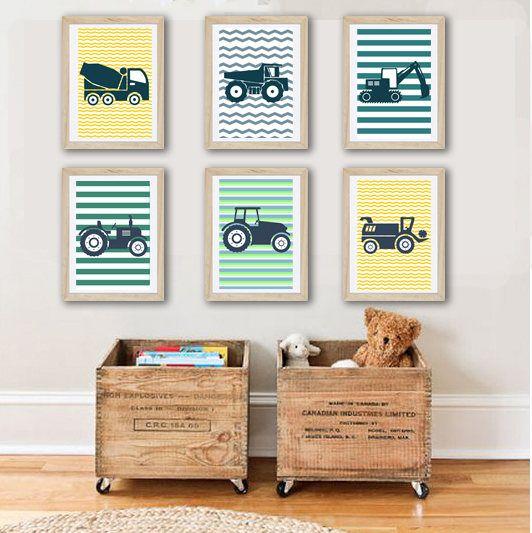 6 affiches tracteurs et engins de chantier pour enfant sur fond rayé, décoration murale, chambre enfant de la boutique alexiableu sur Etsy