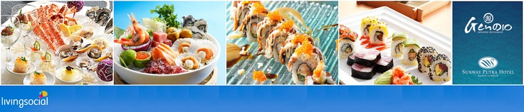 Instant Redemption: Japanese Buffet Dinner from RM55 per person (Over 100 choices including Sashimi, Teppanyaki, Tempura, Robatayaki, Seafood, Lamb, Desserts and more)  at Sunway Putra Hotel -- http://livingsoci.al/10kkWDQ
