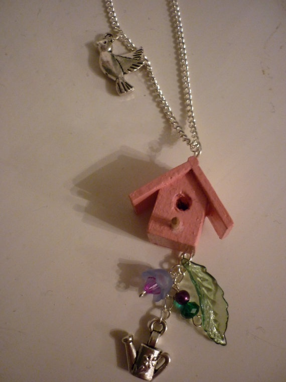 Cute Birdhouse Necklace by DreambirdDesign on Etsy, £6.00
