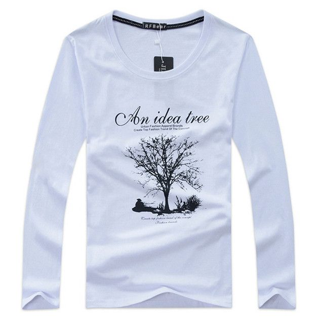 New Autumn and winter cotton man t-shirt geometric long sleeved t shirt o-neck fashion casual print Spring