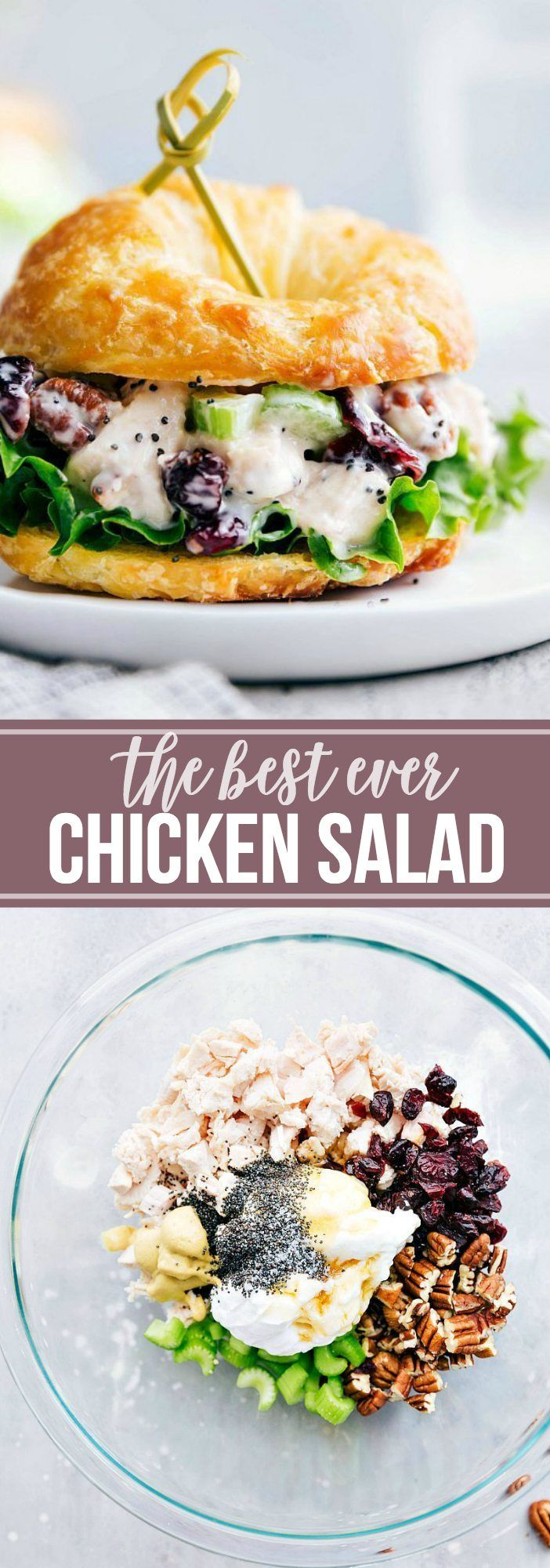 The BEST EVER chicken salad sandwiches! Perfect for the holidays to serve as an appetizer! | chelseasmessyapron.com | #chicken #salad #sandwiches #appetizer #lunch #sandwich #holiday #entertaining #fingerfoods #finger #food #easy #quick #poppyseed #cranberry #celery #rotisseriechicken