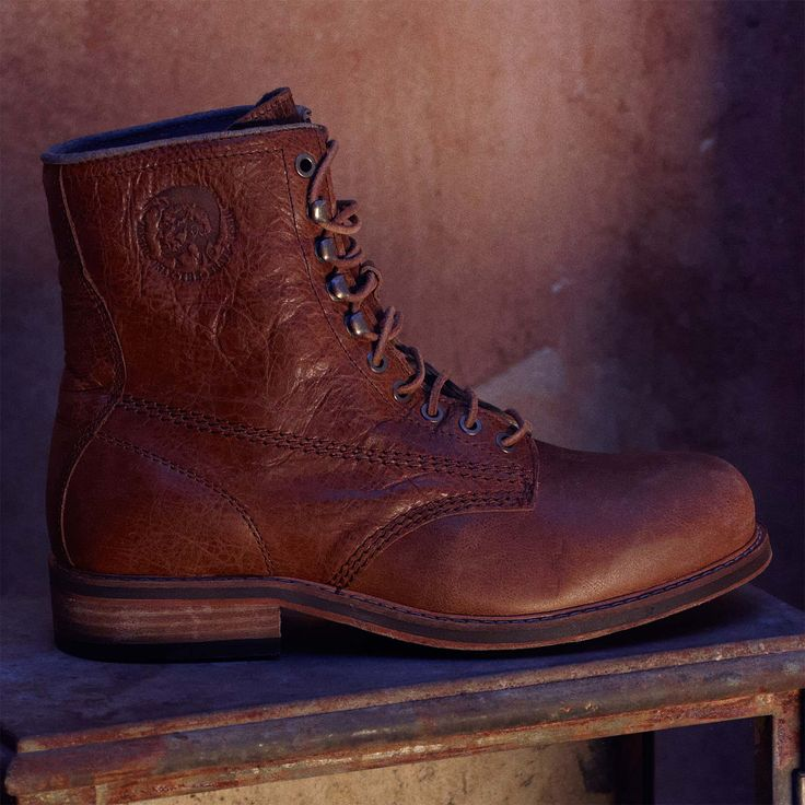 Diesel Skillo - Treated leather - leather/rubber textured outsole