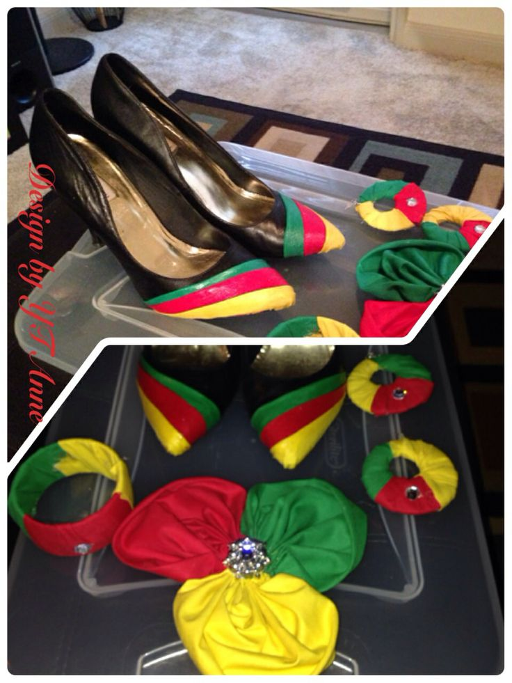 Cameroon flag hair accessories , Cameroon flag earrings and Cameroon flag print pumps. I made these for World Cup games in Brazil. Supporting the indomitable lions from Cameroon.