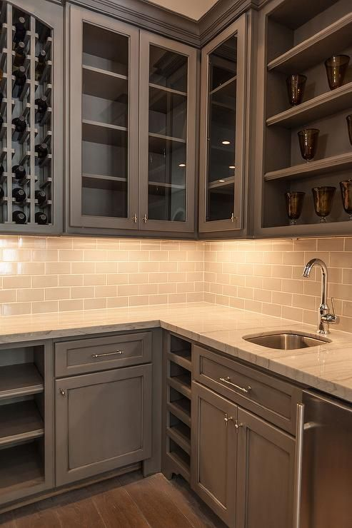 Gray wet bar