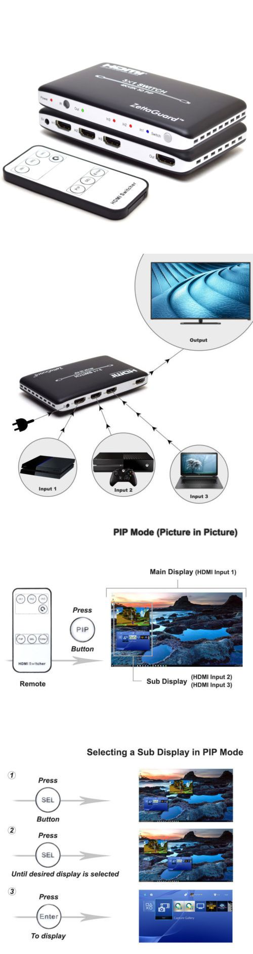 Splitters and Combiners: Zettaguard 4K X 2K 3 Port High-Speed 3 X 1 Hdmi Switch With Pip And Ir Wireless Rc BUY IT NOW ONLY: $36.9