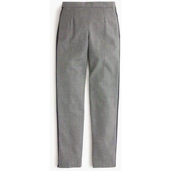 J.Crew Tall Martie Pant With Tux Stripe (225 CAD) ❤ liked on Polyvore featuring pants, capris, petite, tuxedo stripe pants, j.crew, plaid pants, fitted tuxedo and j. crew pants