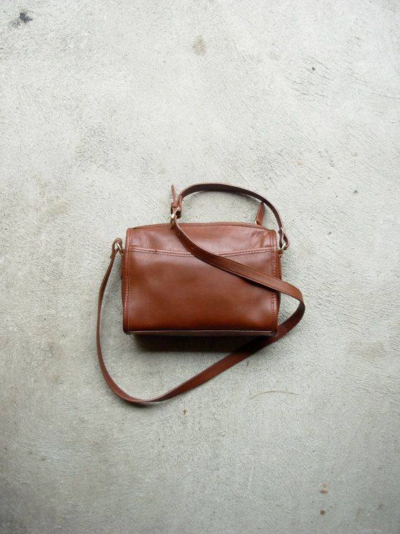 Vintage small brown leather purse brown crossbody by manorborn