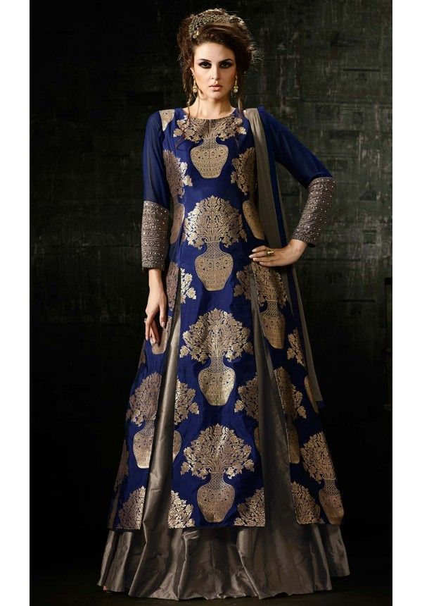 Blue and Gold Hued Designer Anarkali Salwar Suit