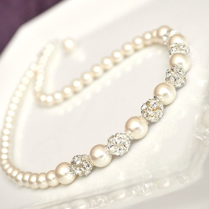 pearl bridal necklace ivory pearl wedding necklace
