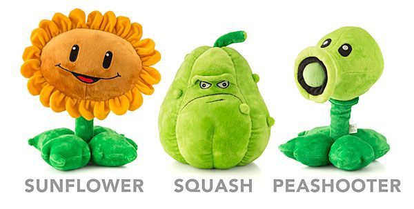 """ThinkGeek :: Plants vs. Zombies Deluxe Plush, $29.99 each -- soft cuddly toys 12"""" tall; """"may not work in real zombie attack"""""""