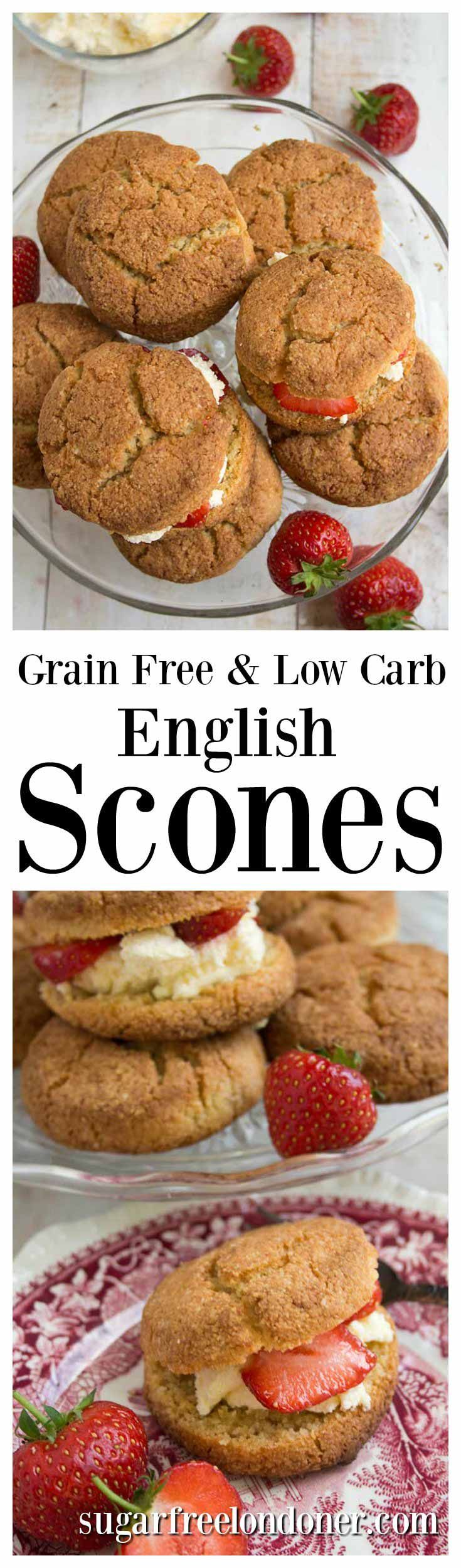 Easy and quick to make with only 6 ingredients! Fluffy, light and moist grain free English scones - best enjoyed with strawberries and cream. Perfect for low carb and keto diets.