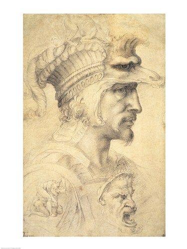 Dibujo - Idea de Cabeza de Guerrero, Miguel Angel Bounarotti