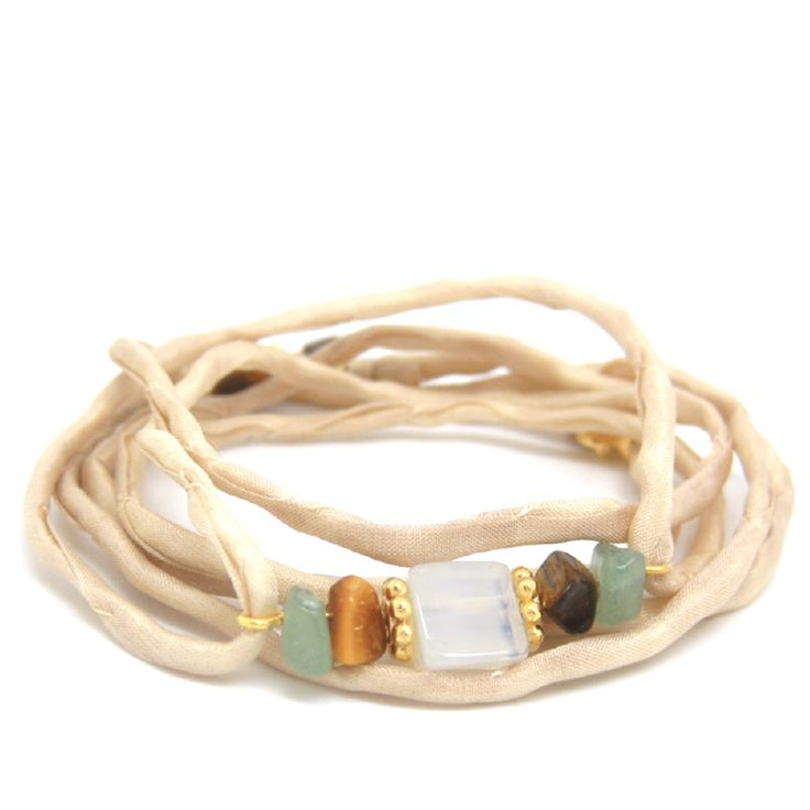 Silk Valley Edelsteen Zijde Wikkel Armband ♡ available at www.ibizamusthaves.nl
