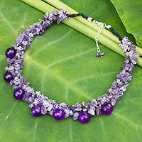 Amethyst cluster necklace, 'Gush' from @NOVICA, They help #artisans succeed worldwide.