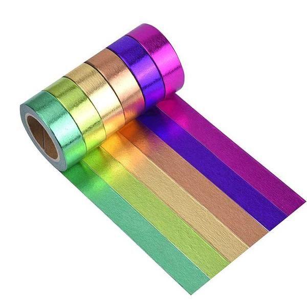 Rainbow Washi Masking Tape Collection DIY Sticker Set Pack of 6