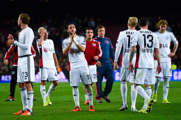 Hakan Calhanoglu (C9 of Bayer 04 Leverkusen and and his teammates acknowledge Bayern 04 Leverkusen supporters at the end of the UEFA Champions League Group E match between FC Barcelona and Bayer 04 Leverkusen on September 29, 2015 in Barcelona, Catalonia.