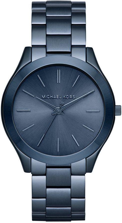 Michael Kors Women's Slim Runway Blue Ion-Plated Stainless Steel Bracelet Watch 42mm MK3419