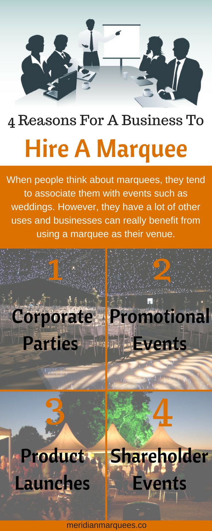 Learn more about some of the best reasons for a business to hire a marquee in this infographic. View the original infographic here: https://www.canva.com/design/DACaWSFkYfs/qh2aunA4bCPQZvvX7fZ-zg/view?utm_content=DACaWSFkYfs&utm_campaign=designshare&utm_medium=link&utm_source=sharebutton  Also, to find out more about why your business should hire a marquee, visit http://meridianmarquees.co/services-corporate-marquees.php  Contact Us: Unit A, Parsons Farm,  Church Lane,  Farley Hill…