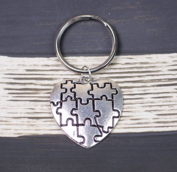 autism puzzle heart keychain,  autism awareness, jigsaw charm, silver puzzle piece, missing puzzle piece, puzzle jewelry,autism teacher gift