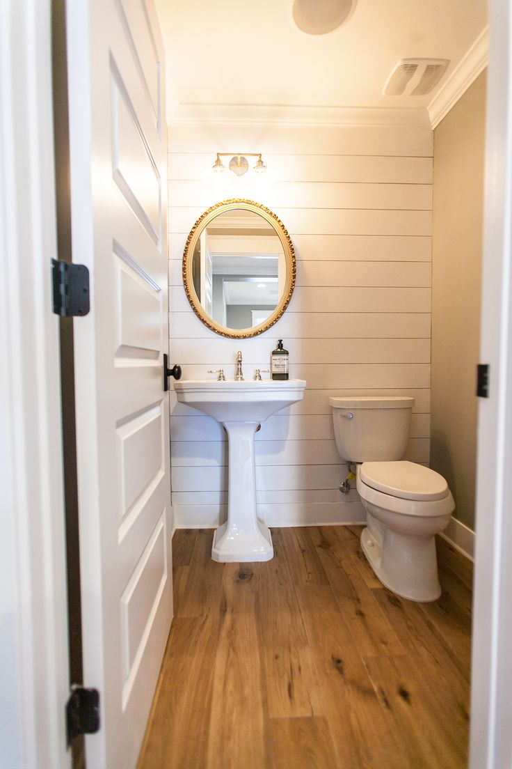Small powder bathroom layout - Nice Small Powder Room Would Not Choose Gold Mirror
