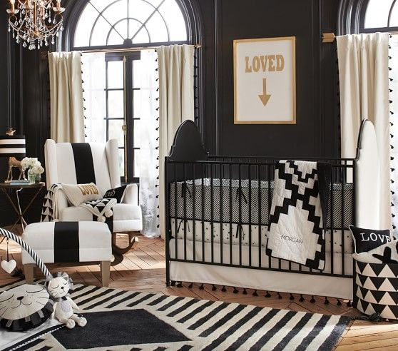 emily u0026 meritt diamond nursery bedding pottery barn kids black white