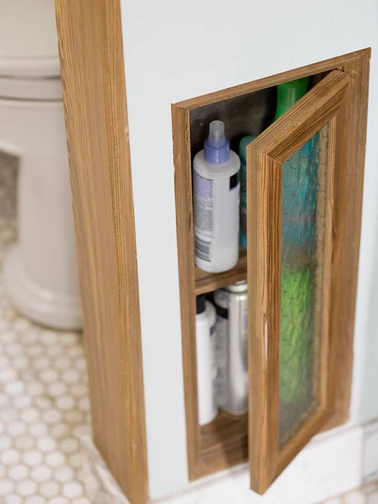 Narrow Escape  PREV  18/22  NEXT  Narrow Escape        Consider hidden storage possibilities whenever you build walls in a bathroom. For example, you can fit ready-made medicine chests between studs near a sink, or create a custom shelf unit to hold all of the tiny bottles and jars used in a bath.