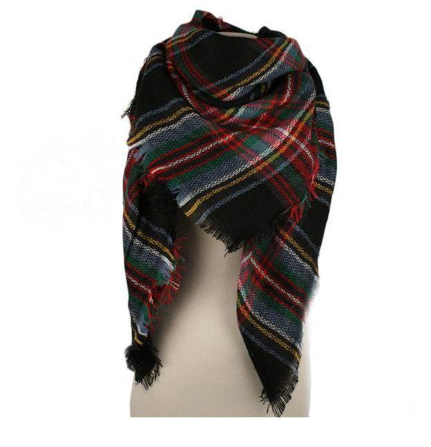 Plaid Blanket Scarf-black/red