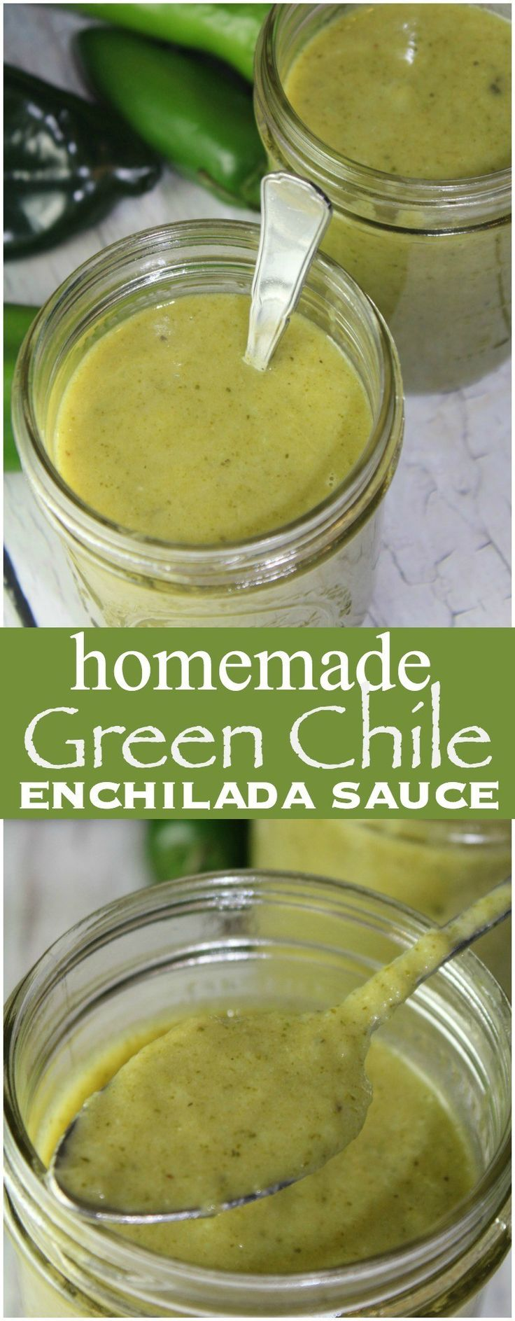 This Homemade Green Enchilada Sauce is SUPER easy to make and works great for everything from enchiladas to chicken, seafood + more!