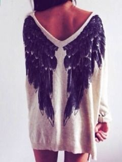 White Angel Wings Print V Neck Loose Knitted Sweater - Choies.com                                                                                                                                                                                 More