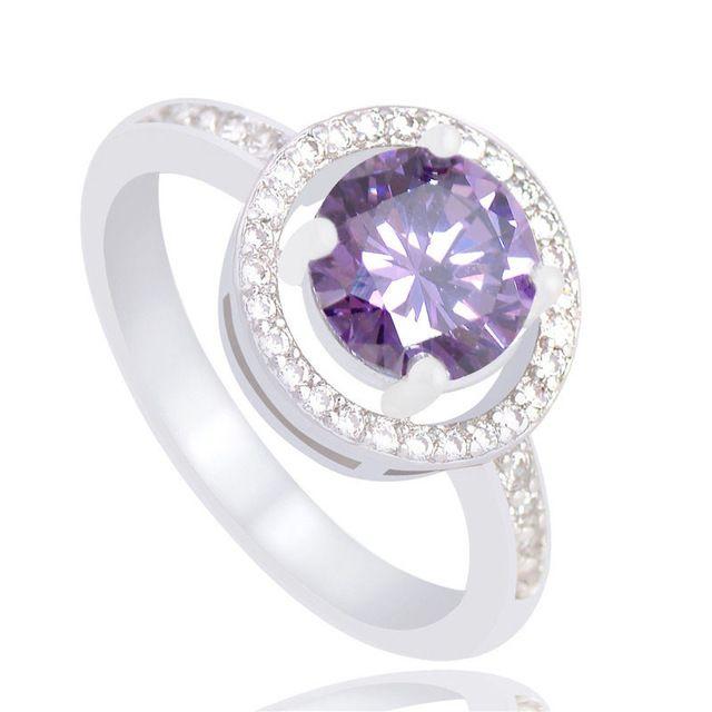Бесплатная доставка серебряное кольцо белый и фиолетовый цирконий CZ свадебный обручальное язвенников ringsA017 / A021 / A024 / A029 / A031
