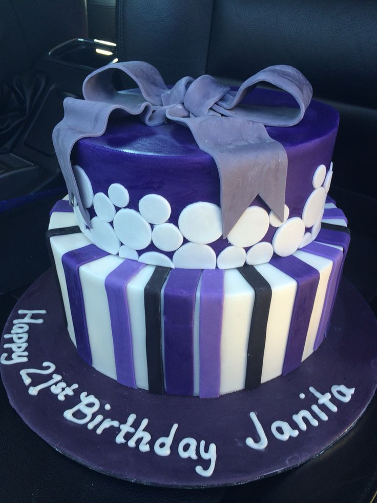 Bow and stripe birthday cake