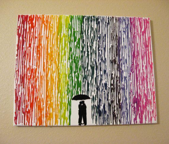 Melted Crayon Art Handmade Original Encaustic Wax Painting Lesbian Wedding Gift In The Rain Couple Silhouette Rainbow Raindrops