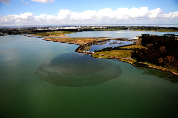 Treated fresh wastewater being discharged into the salt water Manukau Harbour from the treatment plant, Auckland, New Zealand