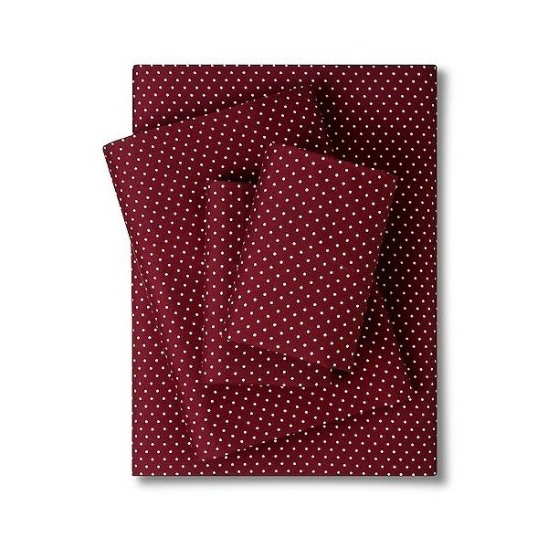 Grand Dot Sheet Set - Maroon ($36) ❤ liked on Polyvore featuring home, bed & bath, bedding, bed sheets, red, dot bedding, burgundy sheet set, maroon bedding, polka dot bedding and red sheet set