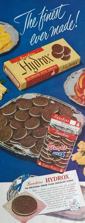 1949 Vintage Hydrox Cookies Ad ~ Finest Ever Made... Invented in 1909... Oreo didn't come out until 1912!!!